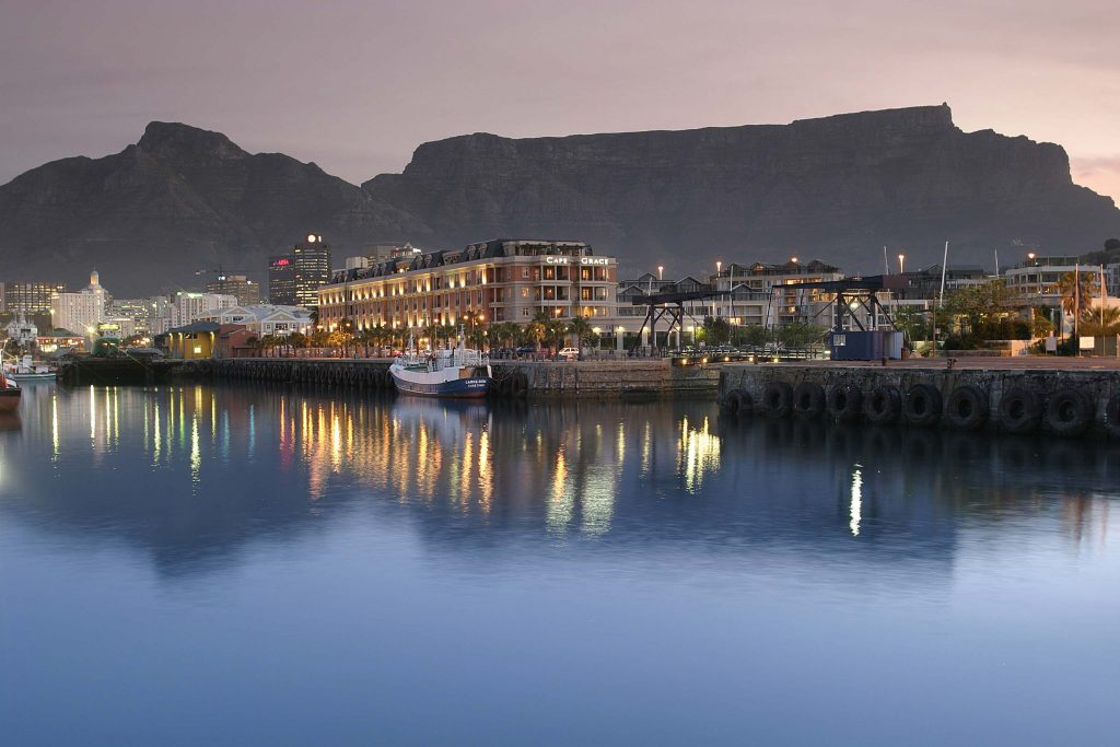 The Cape Grace and Table Mountain at Dusk.