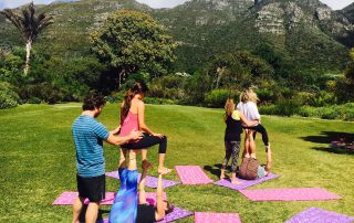 Yoga and play in Kirstenbosch.
