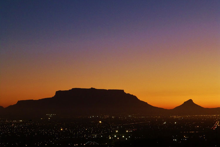 Table Mountain at Sunset.